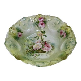 Antique RS Prussia Hand Painted Basket of Roses Bowl