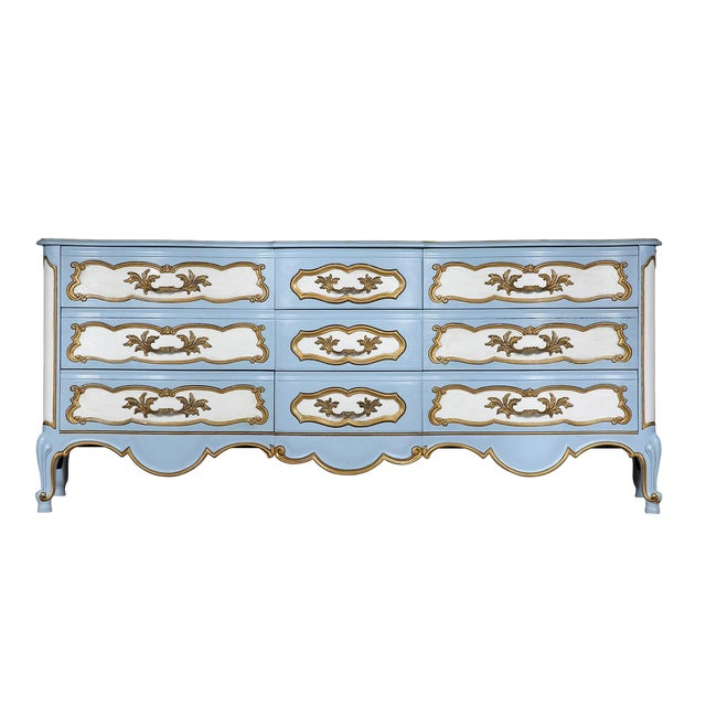Karges French-Style Blue & White Dresser - Image 1 of 7