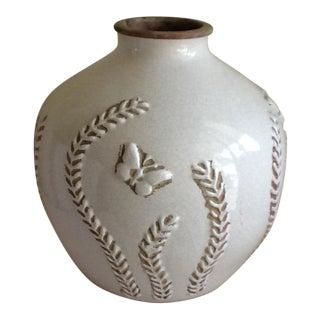 Stoneware Pottery Butterfly Vase