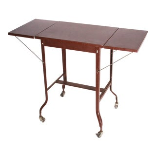 Vintage Industrial Brown Metal Drop Leaf Typewriter Table