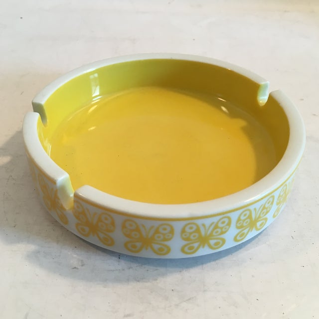 Image of Vintage Yellow Ceramic Butterfly Ashtray