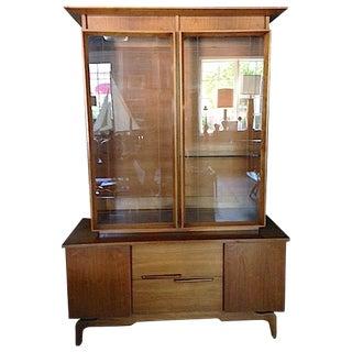 Mid-Century Etched Doors Teak Hutch Cabinet