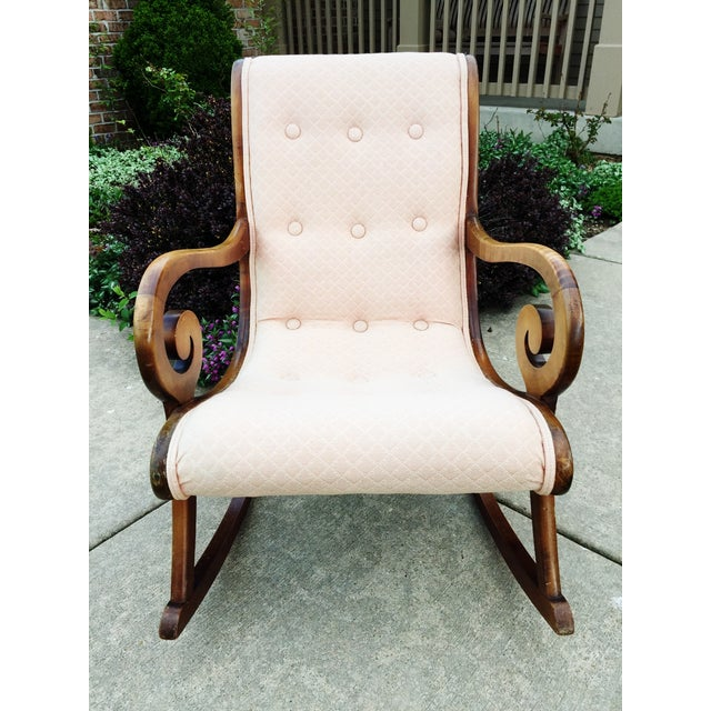 1940's French Rocking Chair - Wood Curved Arms - Image 3 of 8