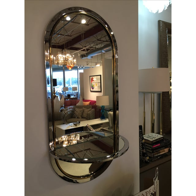 Chrome and Brass Mirror with Console by DIA - Image 3 of 6