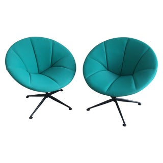 Turquoise Saucer Swivel Chairs - A Pair