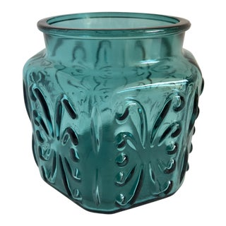 Mid-Century Teal Glass Candle Jar Vessel