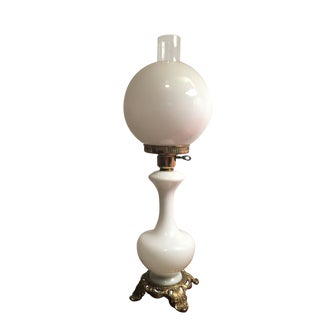 Vintage Antique White Globe Hurricane Table Lamp