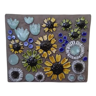 Mid-Century Swedish Floral Wall Plaque by Jie Gantofta