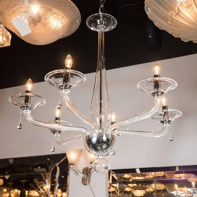 Mid-Century Handblown Six-Arm Murano Chandelier in Clear Glass - Image 9 of 11