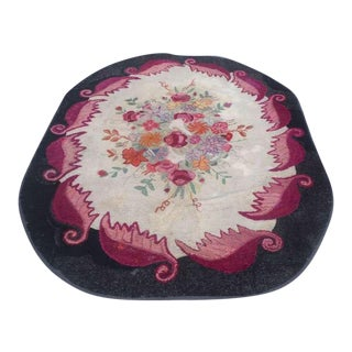 Room Sized Hand-Hooked New England Floral Rug
