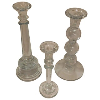 Collected Glass Candlesticks - Set of 3