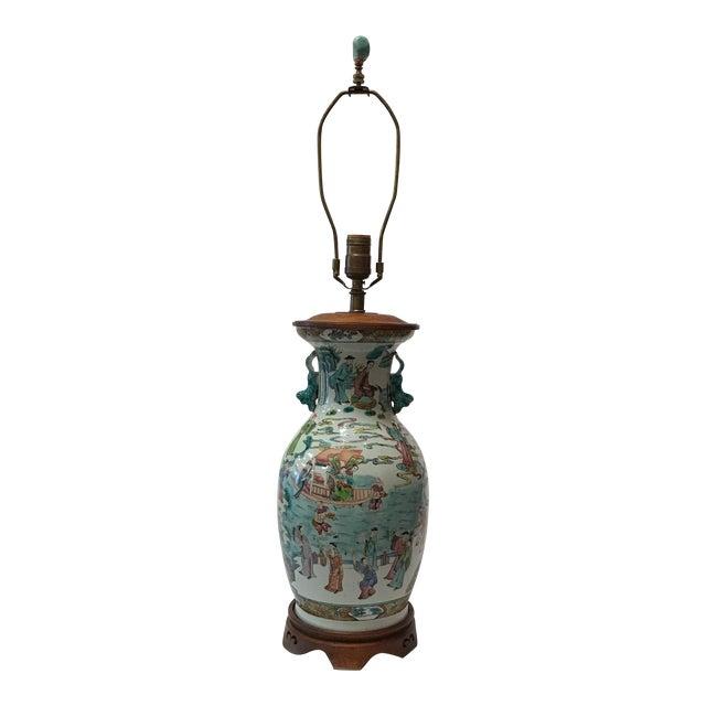 Antique Japanese Porcelain & Wood Lamp - Image 1 of 11