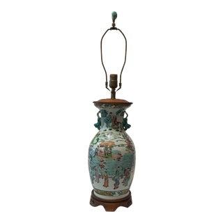 Antique Japanese Porcelain & Wood Lamp
