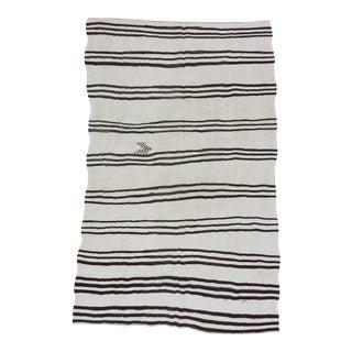 Black and white striped vintage Turkish hemp kilim rug