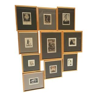 Antique Bookplates With Uniform frames - Set of 10