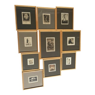 Antique Bookplates With Uniform frames - Set of 10
