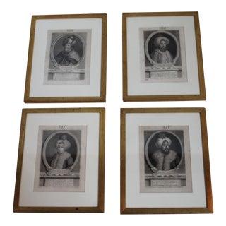 Antique Turkish Pashas Engravings - Set of 4
