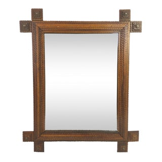 Antique French Tramp Art Mirror
