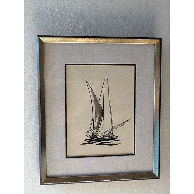 Mid Century Sailboat Painting. Black Ink Original Signed Sailboat Painting - Image 3 of 10