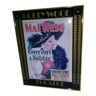 1970's Framed Every Days a Holiday Mae West/Edmund Lowe Movie Poster