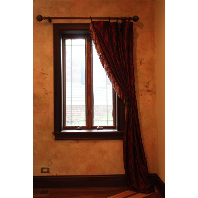 Victorian Style Drapes in Burgundy - A Pair - Image 10 of 10