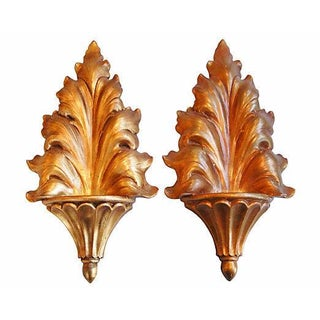 Hollywood Regency MCM Gold Candle Sconces - A Pair