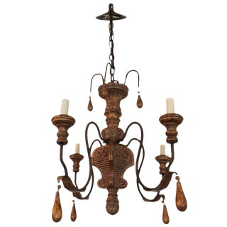 Carved Giltwood and Iron Chandelier