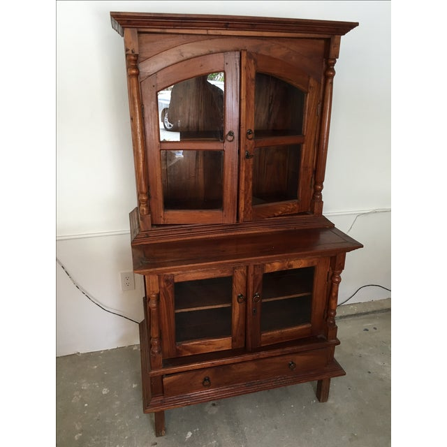 Teak Credenza And Hutch With Glass Doors