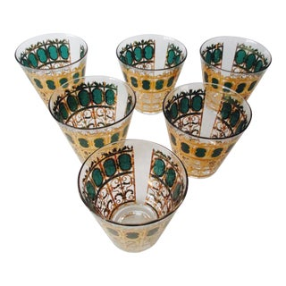 Culver Moroccan Style Green & Gold Glass - Set of 6