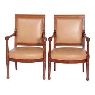 A Pair of Empire Period Mahogany Fauteuils