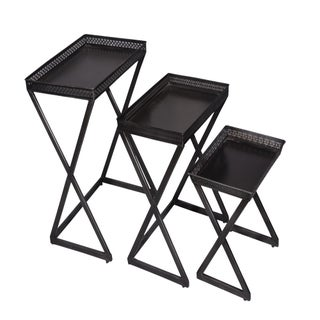 Rectangular Metal Side End Nesting Table - Set of 3