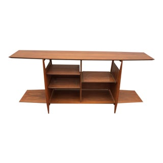 Mid-Century Modern Walnut Floating Console Entertainment Unit
