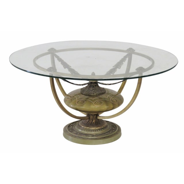 Urn Base Glass Top Coffee Table