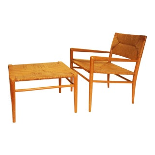Mid-Century Modern Blonde Wood Chair & Ottoman
