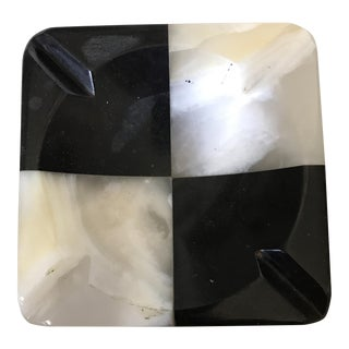 Black & White Checked Ash Receiver Trinket Dish