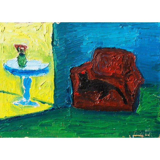 Jonathan Taylor Black Cat on Red Chair Painting - Image 1 of 4