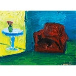 Image of Jonathan Taylor Black Cat on Red Chair Painting