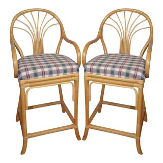 Vintage Rattan Bar Stools - Set of 2