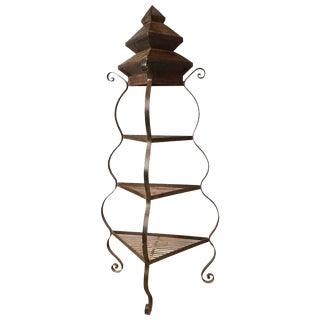 Handmade Iron and Steel Pagoda Top Garden Etagere