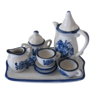 Blue & White Doll Size Tea Set - 10 Pieces