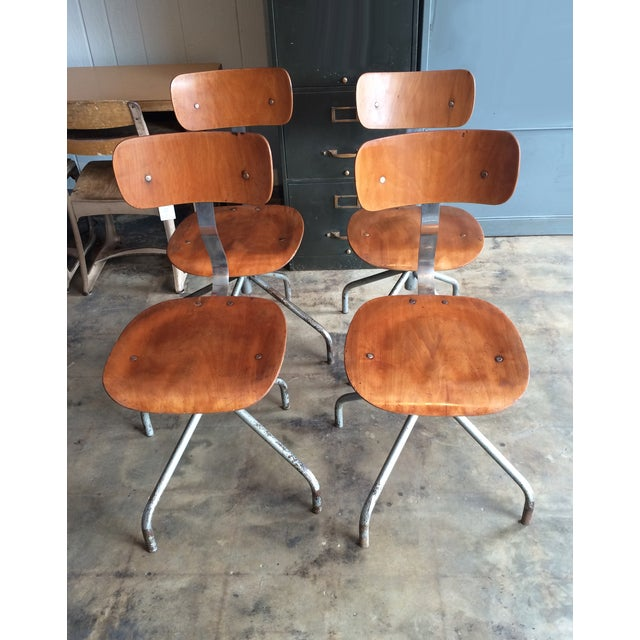 Vintage French Industrial Factory Stools - 4 - Image 2 of 10