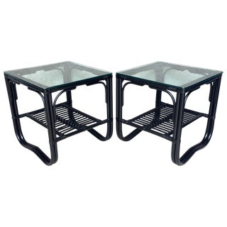 Vintage Black Bohemian Glass Topped Table - Pair