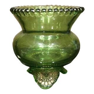 Green Vintage Glass Votive Candle Holder