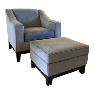 Graphite Club Chair & Ottoman - A Pair