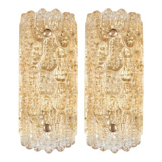 Luxe Pair of Mid-Century Modern Sconces By Carl Fagerlund for Orrefors