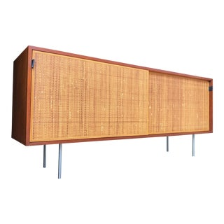 Florence Knoll Walnut & Cane Credenza