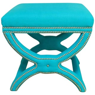 Hollywood Regency X-Form Linen Stool