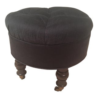 Navy Velvet Tufted Footstool