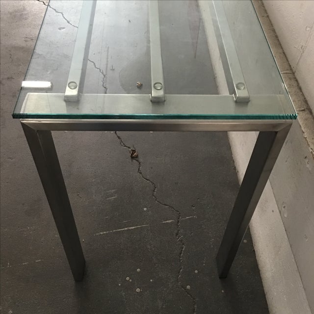 Modern Custom Steel & Glass Console Table - Image 7 of 9