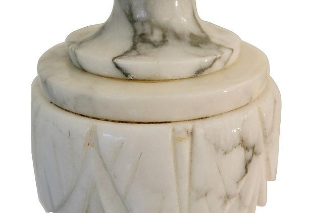 Neoclassical Carved Marble Lamps - A Pair : Chairish